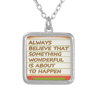 Power of intention n positive thinking square pendant necklace