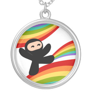 Power of the Rainbow Ninja Kick Silver Plated Necklace