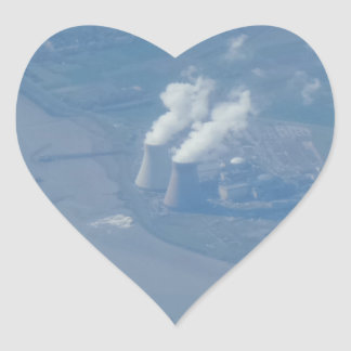 Power Plant Aerial View Heart Sticker