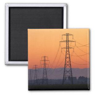 Power Pylons at Sunset Magnet