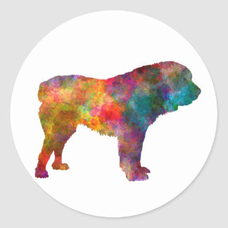 Power station Asian Shepherd Dog in watercolor Classic Round Sticker