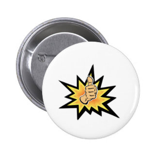 power thumbs up 6 cm round badge
