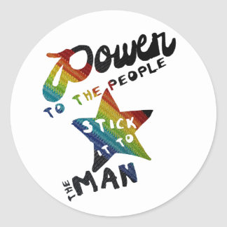 Power To The People (Retro Rainbow Patch) Round Sticker