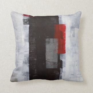 'Power Trip' Black, Grey, Red Abstract Art Pillow Cushions