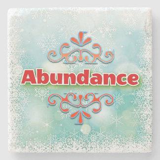 "Power Word ""Abundance"" on Marble Stone Coaster"