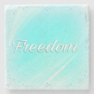 Power Word Freedom on Jade Colour Marble Coaster Stone Beverage Coaster