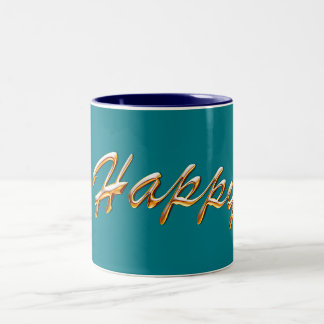 "Power Word ""Happy"" on Beautiful Green Mug"