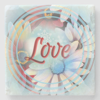 """Power Word """"Love"""" on a Marble Coaster With Daisies Stone Coaster"""