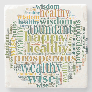 Power-Words for Prosperity on Marble Coaster Stone Beverage Coaster