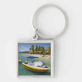 Powerboat and banana boat Silver-Colored square key ring