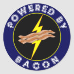 Powered By Bacon Round Stickers