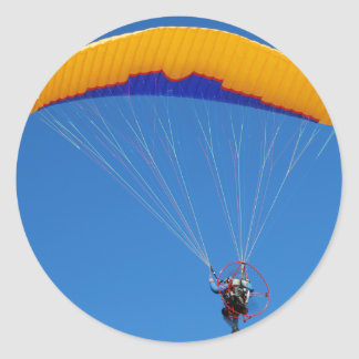 Powered Paraglider Classic Round Sticker