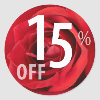 Powerful 15% OFF SALE Sign | Red Rose Round Sticker