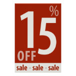 Powerful 15% OFF SALE Sign - retail sales poster