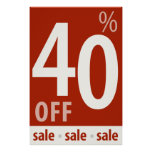 Powerful 40% OFF SALE Sign - retail sales poster