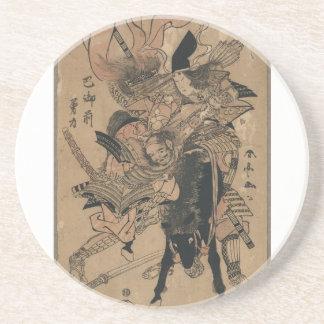 Powerful Female Samurai Defeating Male Samurai Coaster