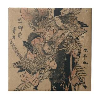 Powerful Female Samurai Defeating Male Samurai Tile