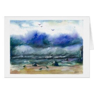 Powerful ocean waves card