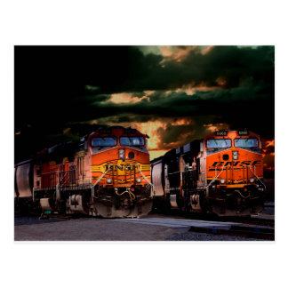 Powerfull locomotives ready to haul postcard