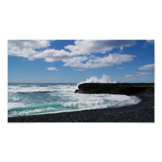 Powerfull Waves CRA-hung Near A Beach in Iceland Poster