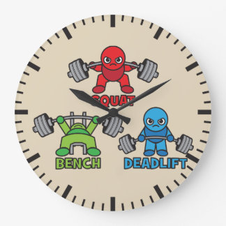 Powerlifting Kawaii - Squat, Bench Press, Deadlift Large Clock