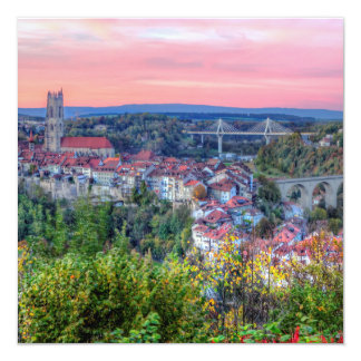 Poya and Zaehringen bridge, Fribourg, Switzerland Card