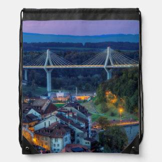 Poya and Zaehringen bridge, Fribourg, Switzerland Drawstring Bag