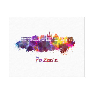 Poznan skyline in watercolor canvas print