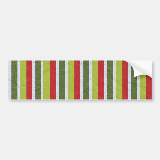 pp1 RED WHITE LIME GREEN DARK MOSS GREENS STRIPES Bumper Stickers