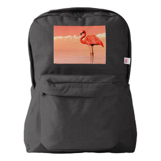 pPink flamingo in the water - 3D render Backpack