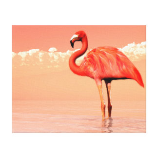 pPink flamingo in the water - 3D render Canvas Print