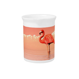pPink flamingo in the water - 3D render Pitcher