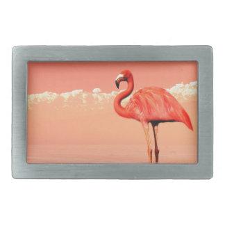 pPink flamingo in the water - 3D render Rectangular Belt Buckles