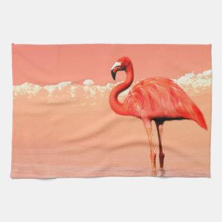 pPink flamingo in the water - 3D render Tea Towel