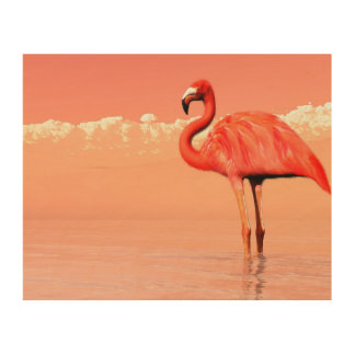 pPink flamingo in the water - 3D render Wood Wall Art