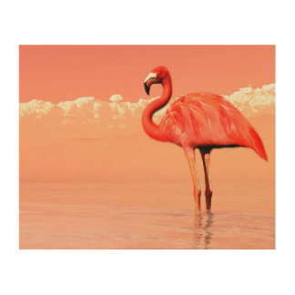 pPink flamingo in the water - 3D render Wood Wall Decor