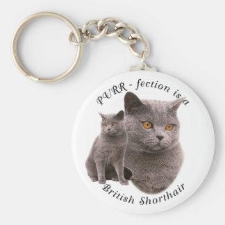 PPURR-fection British shorthair Blue Basic Round Button Key Ring