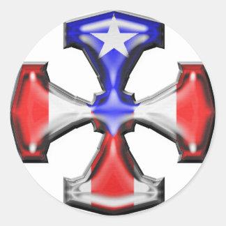 PR Flag Iron Cross Classic Round Sticker