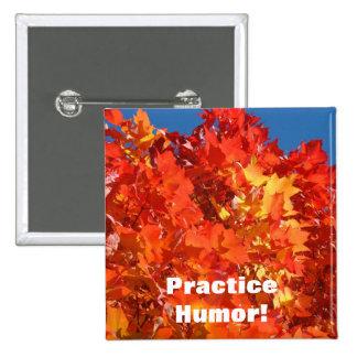 Practice Humor buttons Orange Autumn Leaves