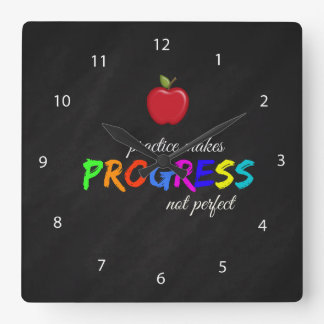 Practice makes progress square wall clock