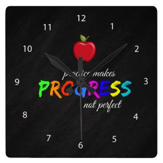 Practice makes progress square wall clock