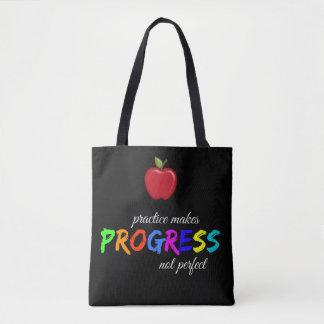 Practice makes progress tote bag