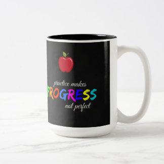 Practice makes progress Two-Tone coffee mug