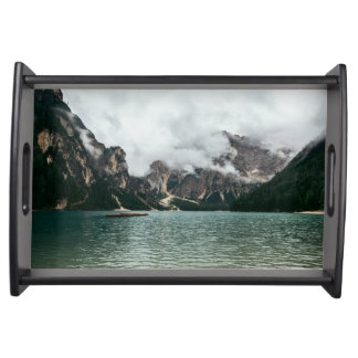 Pragser Wildsee in the Prags Dolomites in Italy Serving Tray