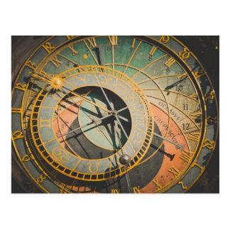 Prague astronomical clock in Czech Republic Postcard