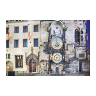 Prague Astronomical Clock Night Canvas