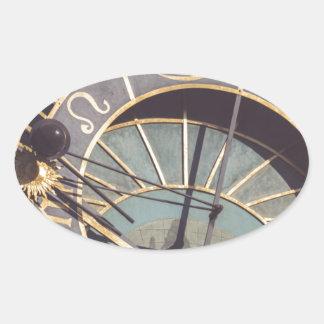 Prague Astronomical Clock Oval Sticker