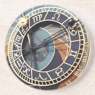 prague astronomical clock sandstone coaster