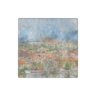 Prague Castle in Czech Republic Stone Magnet