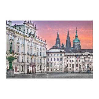 Prague Castle Square Morning Canvas